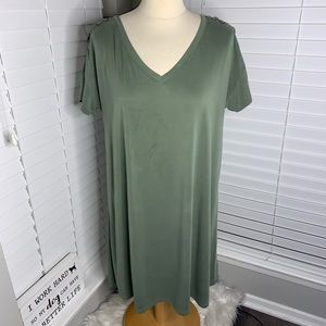 Mudd Army Green V-Neck Lace Up Swing Dress